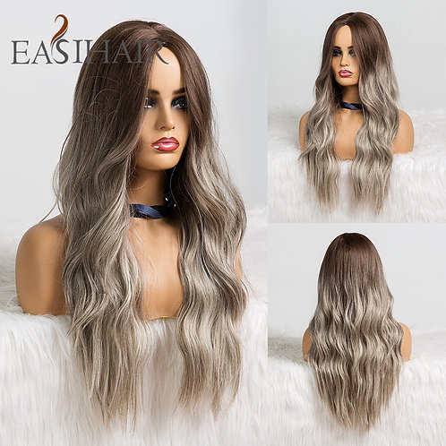 EASIHAIR Long Ombre Brown Synthetic Wig