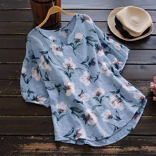 Blouse-Women Shirt v Neck Half Sleeve Linen Vintage Boho