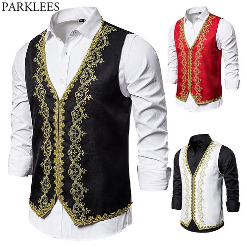Baroque Style Gold Embroidery Vest