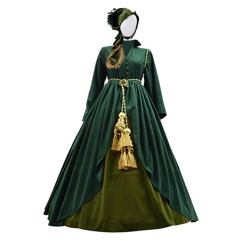"""Gone With The Wind"" Scarlett O'Hara Cosplay Costume ""Green Curtain"" Dress"