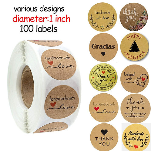 100pcs Multi-Styles Handmade With Love Stickers