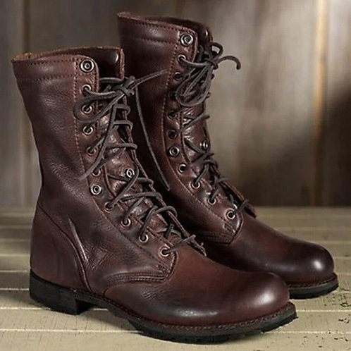 Vintage Tall Leather Lace Up Flat Boot