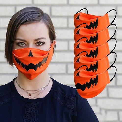 5Pc Novelty Jack O Lantern Washable Face Masks