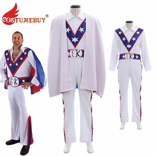 Youth & Adult Evel Knievel Patriotic Cosplay Jumpsuit With Cape