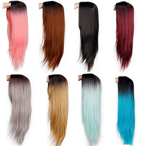 "26"" Ombre Straight Long Synthetic Wig"
