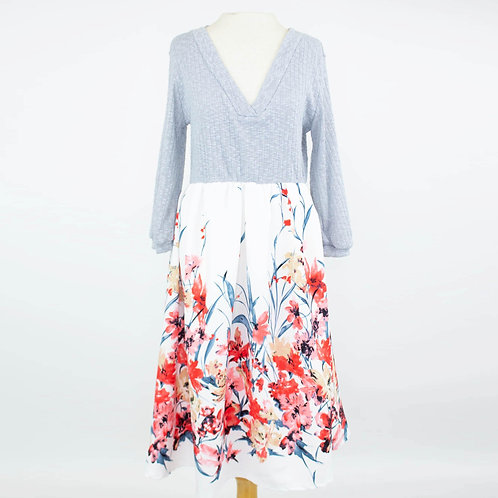 Floral Flared Color Block Dress
