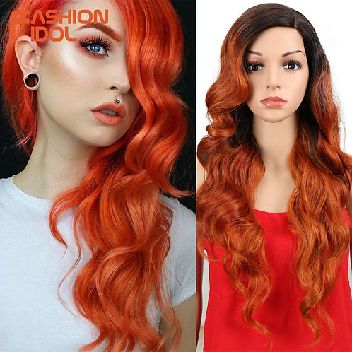 "26"" Long Deep Wave Ombre Lace Front Wig"