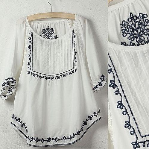 """Midsommar"" Vintage Embroidered Scandinavian Shirt"