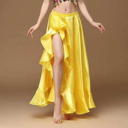 Belly Dancing Side Slit Long Satin Skirt