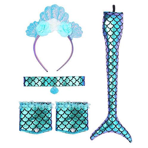 Mermaid Costume Shiny Fish Scale Print Accessories