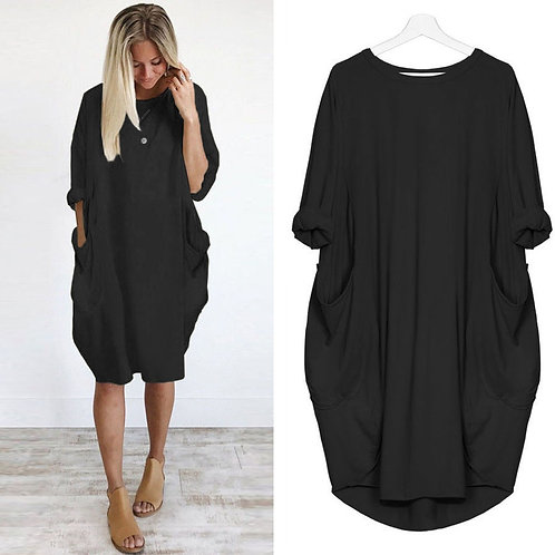 #Z45 Womens Loose Dress Ladies O Neck Pocket Solid Color
