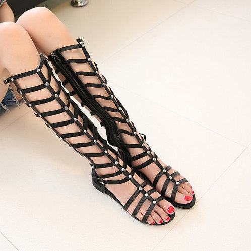 Studded Roman Gladiator Knee High Flat Sandals