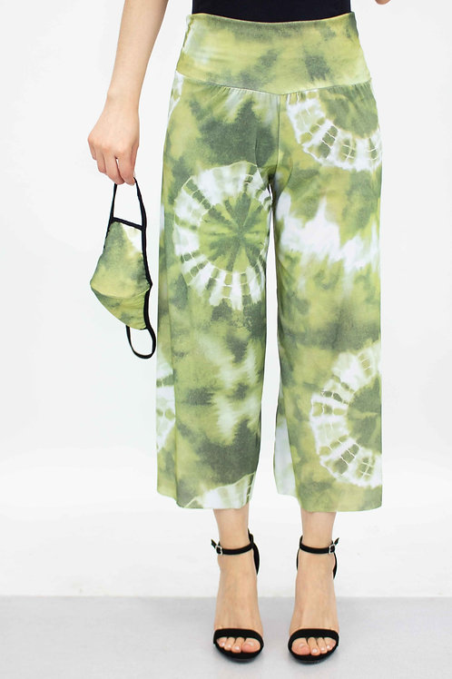 Green Tie Dye Print Cropped Gaucho Pants and Mask