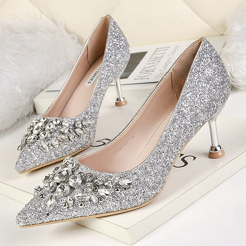 Ice Queen Rhinestone Kitten Heels