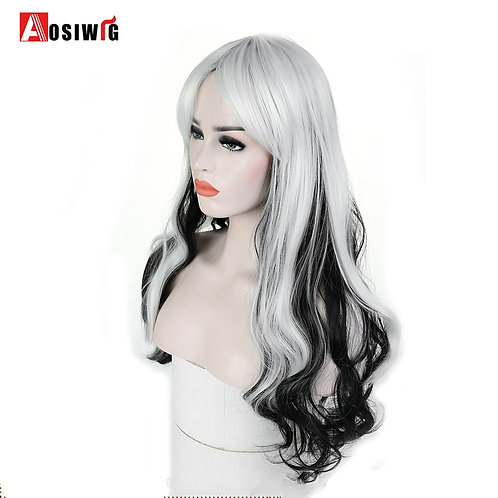 AOSI WIG Long Wavy Black White Ombre Synthetic Wig