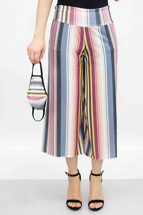 Striped Print Cropped Gaucho Pants and Mask