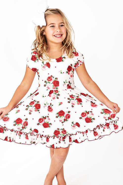 Delicate Red Rose Gingham Cross Back Hugs Collection Dress - Sale