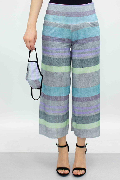 Striped Print Cropped Gaucho Pants and Mask - Blue