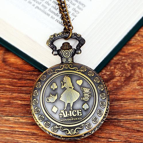 """""""Alice in Wonderland"""" Antique Bronze Pocket Watch"""