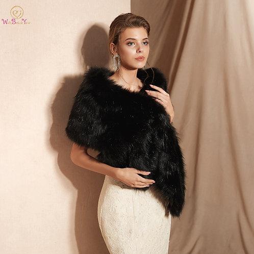 Wide Faux Fur Evening Wrap