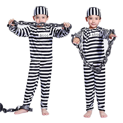 Youth Jailbird Striped Prisoner Costume