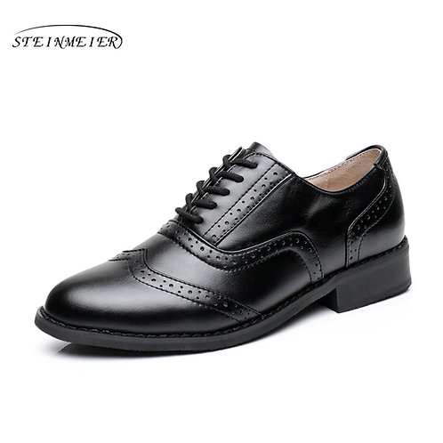 Leather Retro Oxford Shoe - Extended Sizes