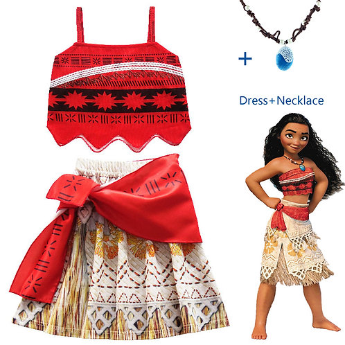 Youth Princess Moana Cosplay Costume With Optional Necklace