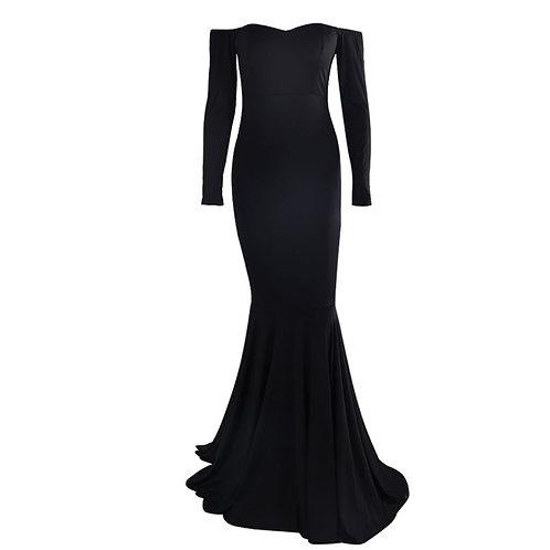 Plain Black Off Shoulder Gown