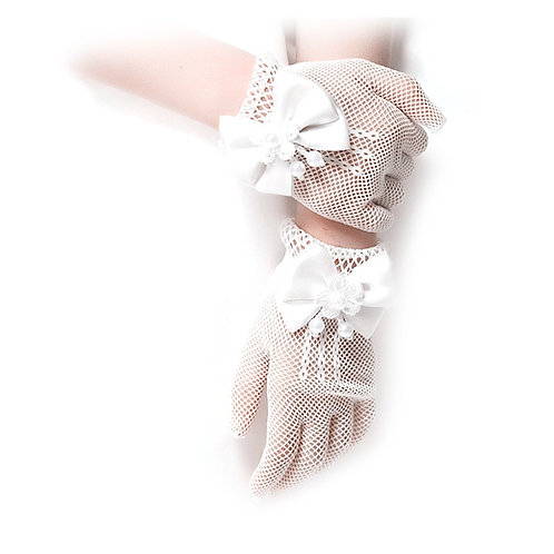 Youth Retro Bowknot Mesh Wrist Gloves