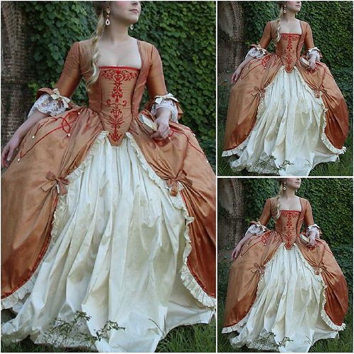 18th Century Russet French Court Gown