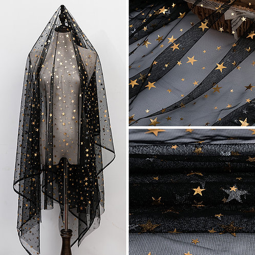 Bronzed Star Soft Mesh Lace Fabric for Girls'  Tulle