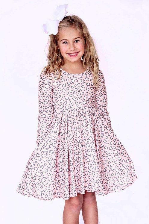 Pink Leopard Long Sleeve Comfort Twirl Dress