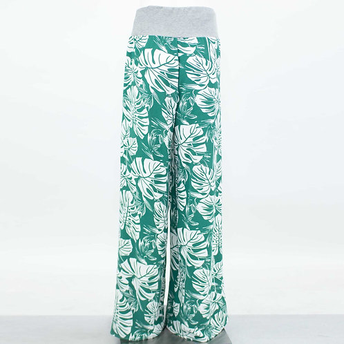 Wide Leg Green Leaf Maxi Pants