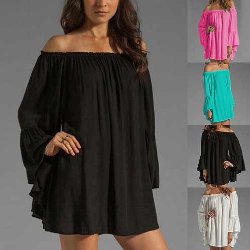 @ Women's Long Sleeve Dress Lantern Sleeve Solid Off Shoulder