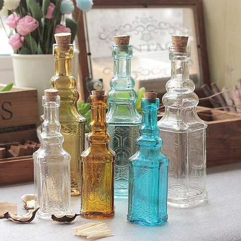 Small Vintage Carved Glass Vase