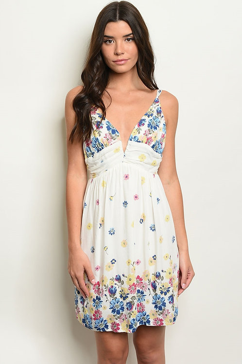 Womens Ivory Floral Dress