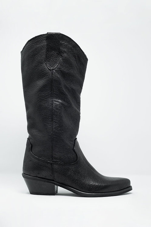 Black Western High Boots