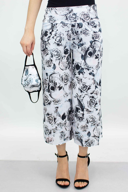 White Rose Skull Cropped Gaucho Pants and Mask