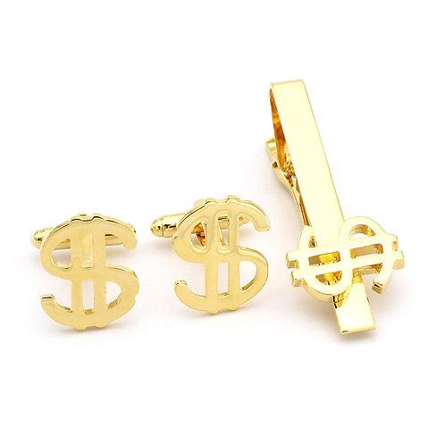 Novelty Dollar Symbol Cufflinks & Tie Clip Set