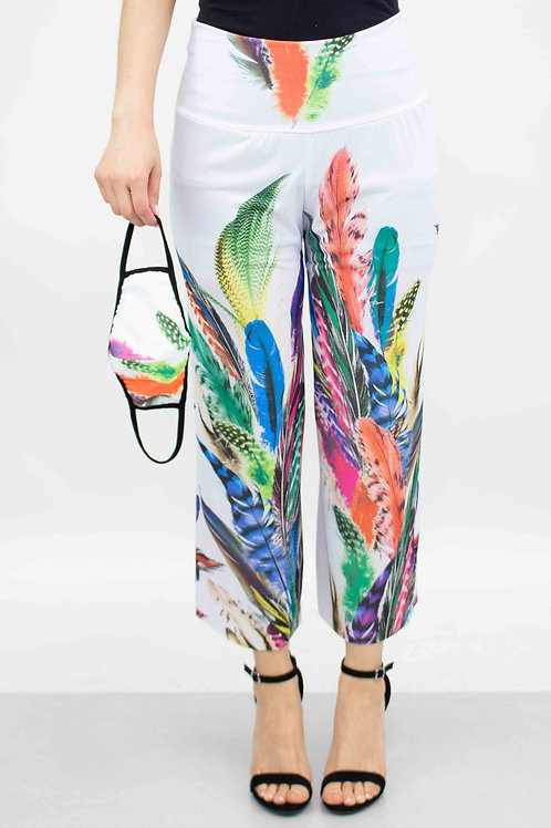 Feather Print Cropped Gaucho Pants and Mask