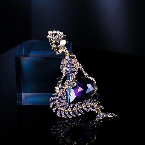 Halloween Mermaid Skeleton Brooches