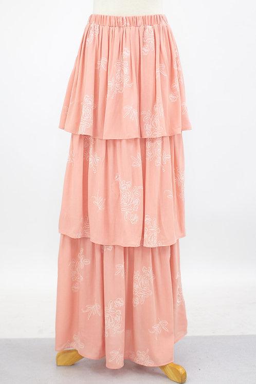 Layered Ruffle Maxi Skirt - Blush