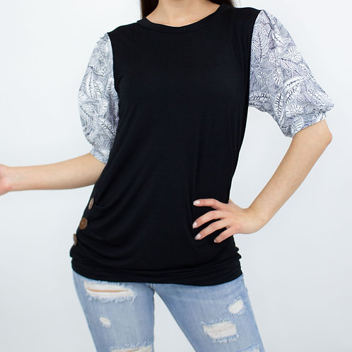 Balloon Sleeve Black Top With Buttons