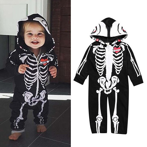 Baby Zip Up Skeleton With A Heart Hoodie Romper