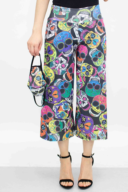 Colored Skull Print Cropped Gaucho Pants and Mask