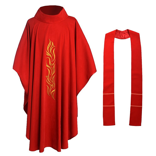 Red Catholic Church Chasuble Priest Vestments Robe Clegy Apparel