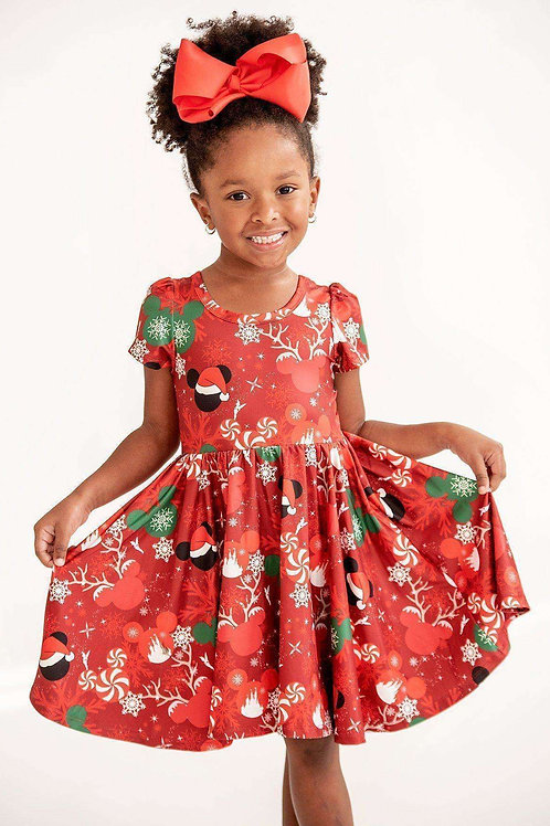 Mini Winter Candy Twirl Hugs Dress - Holiday Special