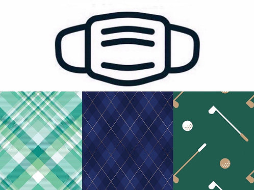 Golf Plaid Washable Face Masks 3/Pack