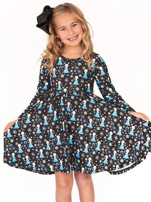 Ice Princess Long Sleeve Comfort Twirl Dress