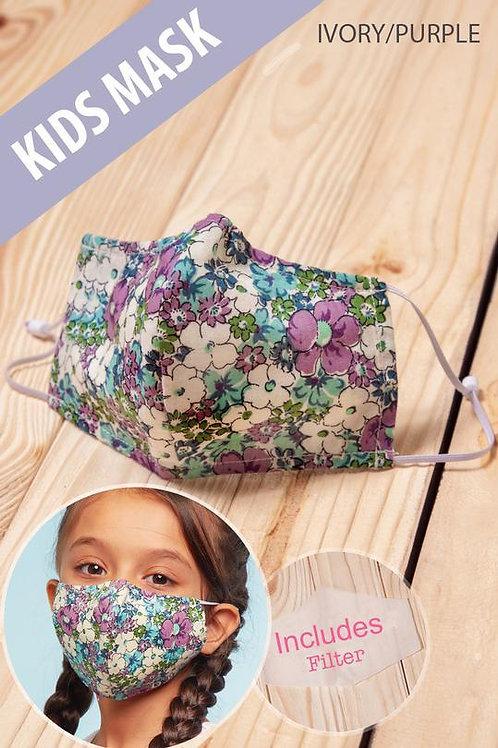 Purple Floral Kids Mask